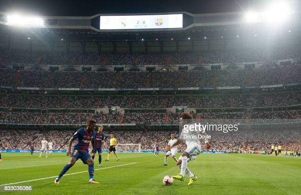 Marcelo of Real Madrid takes on Nelson Semedo of FC Barcelona during the Supercopa de Espana Final 2nd Leg match between Real Madrid and FC Barcelona...