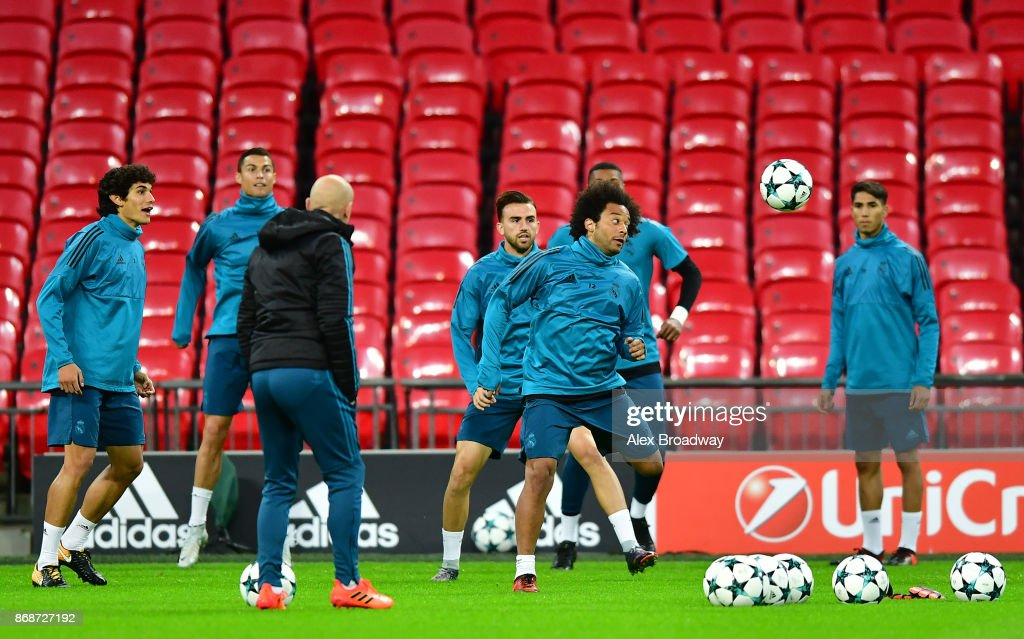Marcelo of Real Madrid trains during a training session ahead of their UEFA Champions League Group H match against Tottenham Hotspur at Wembley Stadium on October 31, 2017 in London, England.