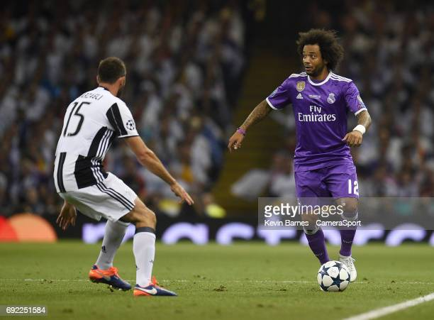Marcelo of Real Madrid under pressure from Andrea Barzagli of Juventus during the UEFA Champions League Final match between Juventus and Real Madrid...