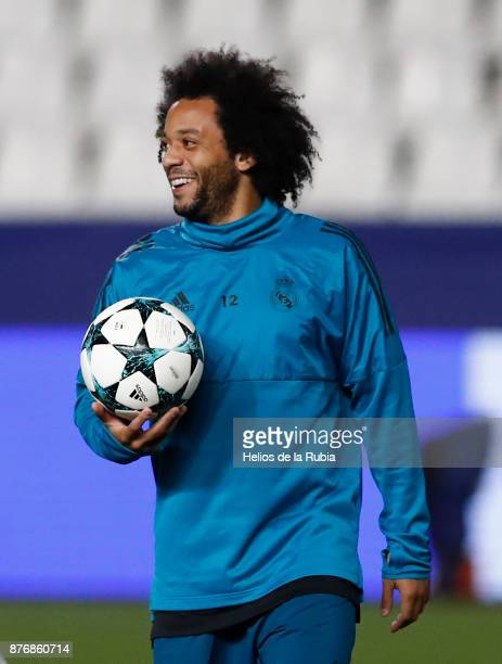 Marcelo of Real Madrid warms up during the UEFA Champions League group H match between APOEL Nikosia and Real Madrid at GSP Stadium on November 20...
