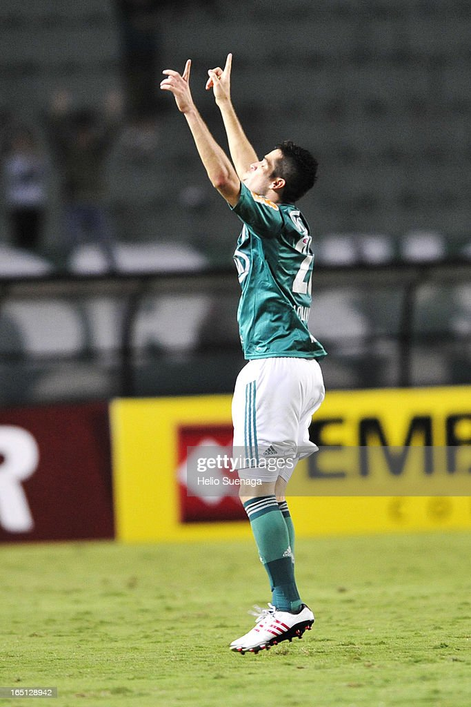 Marcelo Oliveira of Palmeiras celebrates a goal during the match between Palmeiras and Linense as part of Paulista Championship 2013 at Pacaembu Stadium on March 30, 2013 in São Paulo, Brazil.