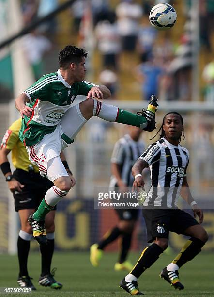 Marcelo Oliveira of Palmeiras fights for the ball with Arouca of Santos during the match between Palmeiras and Santos for the Brazilian Series A 2014...