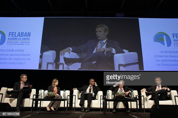 Marcelo Poncini credit manager at Banco Galicia from right speaks while Marcos Brujis global industry director of Financial Institutions Group...