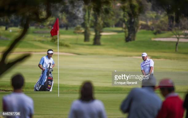 Marcelo Rozo of Colombia chips onto the 18th hole green during the third round of the PGA TOUR Latinoamerica 70 Avianca Colombia Open at Club...