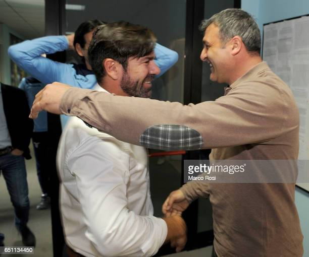 Marcelo Salas former SS Lazio player with SS Lazio Club Manager Angelo Peruzzi before the SS Lazio Training Session at the Formello Center in Rome on...