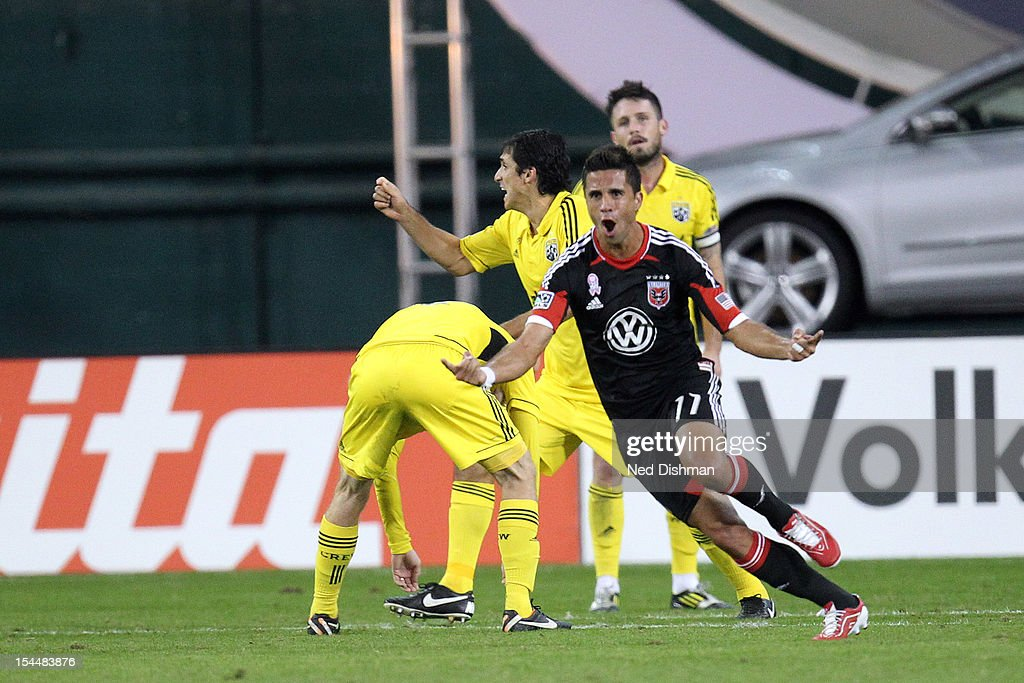 Marcelo Saragosa of DC United celebrates after his goal against the Columbus Crew at RFK Stadium on October 20 2012 in Washington DC