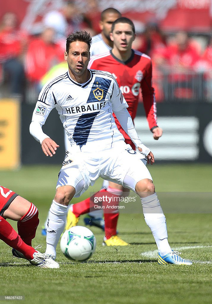 Marcelo Sarvas #8 of the Los Angeles Galaxy plays in an MLS game against the Toronto FC on March 30, 2013 at BMO field in Toronto, Ontario, Canada. The LA Galaxy and the Toronto FC played to a 2-2 tie.