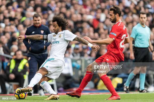 Marcelo Vieira da Silva Junior of Real Madrid Franco Vazquez of Sevilla FC during the La Liga Santander match between Real Madrid CF and Sevilla FC...