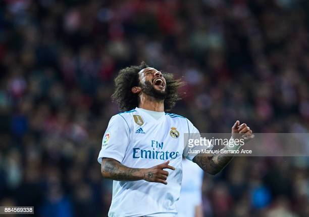 Marcelo Vieira da Silva of Real Madrid CF reacts during the La Liga match between Athletic Club and Real Madrid at Estadio de San Mames on December 2...