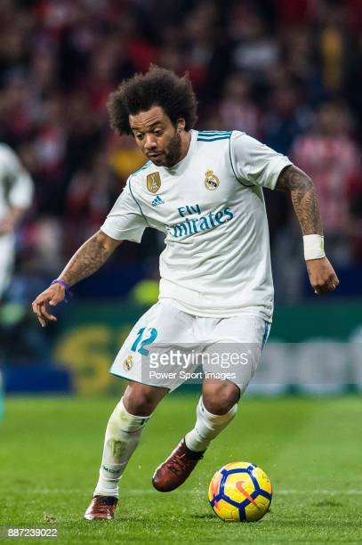 Marcelo Vieira Da Silva of Real Madrid in action during the La Liga 201718 match between Atletico de Madrid and Real Madrid at Wanda Metropolitano on...