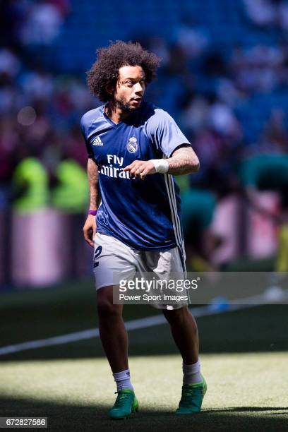 Marcelo Vieira Da Silva of Real Madrid in training prior to the La Liga match between Real Madrid and Atletico de Madrid at the Santiago Bernabeu...