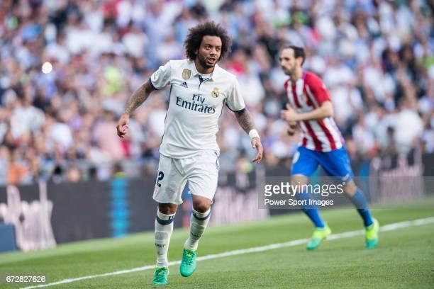 Marcelo Vieira Da Silva of Real Madrid reacts during their La Liga match between Real Madrid and Atletico de Madrid at the Santiago Bernabeu Stadium...