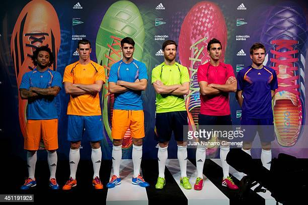 Marcelo Vieira Gareth Bale Alvaro Morata Xabi Alonso Alvaro Arbeloa and Asier Illarramendi of Real Madrid attend new Adidas boots presentation at...