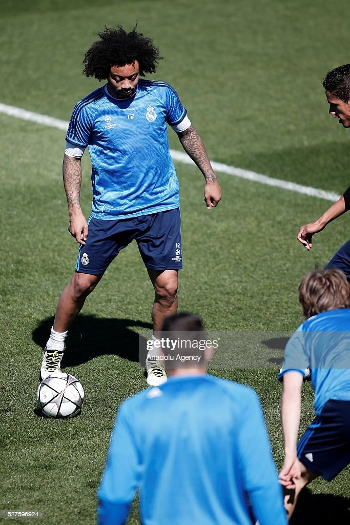 Marcelo Vieira of Real Madrid attends training session ahead of UEFA Champions League semi-final second leg football match between Real Madrid CF and Manchester City at Valdebebas training ground in Madrid, Spain on May 3, 2016.