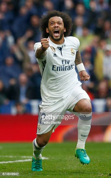 Marcelo Vieira of Real Madrid celebrates after scoring during the La Liga match between Real Madrid and Valencia CF at Estadio Santiago Bernabeu on...