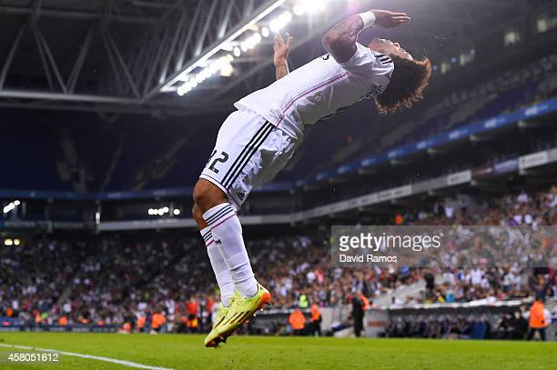 Marcelo Vieira of Real Madrid CF celebrates after scoring his team's fourth goal during the Copa Del Rey Round of 32 first leg match at Power8...