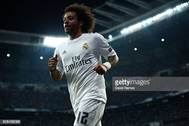 Marcelo Vieira of Real Madrid CF looks on during the UEFA Champions League Semi Final second leg match between Real Madrid and Manchester City FC at...