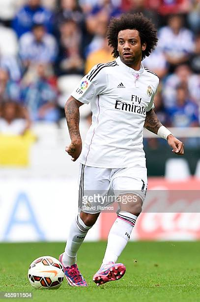 Marcelo Vieira of Real Madrid CF runs with the ball during the La Liga match between RC Deportivo La Coruna and Real Madrid CF at Riazor Stadium on...