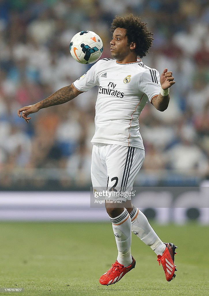 <a gi-track='captionPersonalityLinkClicked' href=/galleries/search?phrase=Marcelo+-+Attacking+Left+Back+-+Born+1988&family=editorial&specificpeople=2136789 ng-click='$event.stopPropagation()'>Marcelo</a> Vieira of Real Madrid controls the ball during the La Liga match between Real Madrid CF and Real Betis at Estadio Santiago Bernabeu on August 18, 2013 in Madrid, Spain.