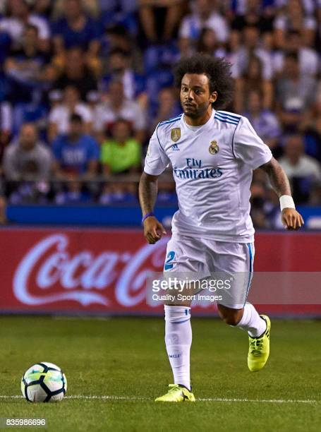 Marcelo Vieira of Real Madrid in action during the La Liga match between Deportivo La Coruna and Real Madrid at Riazor Stadium on August 20 2017 in...