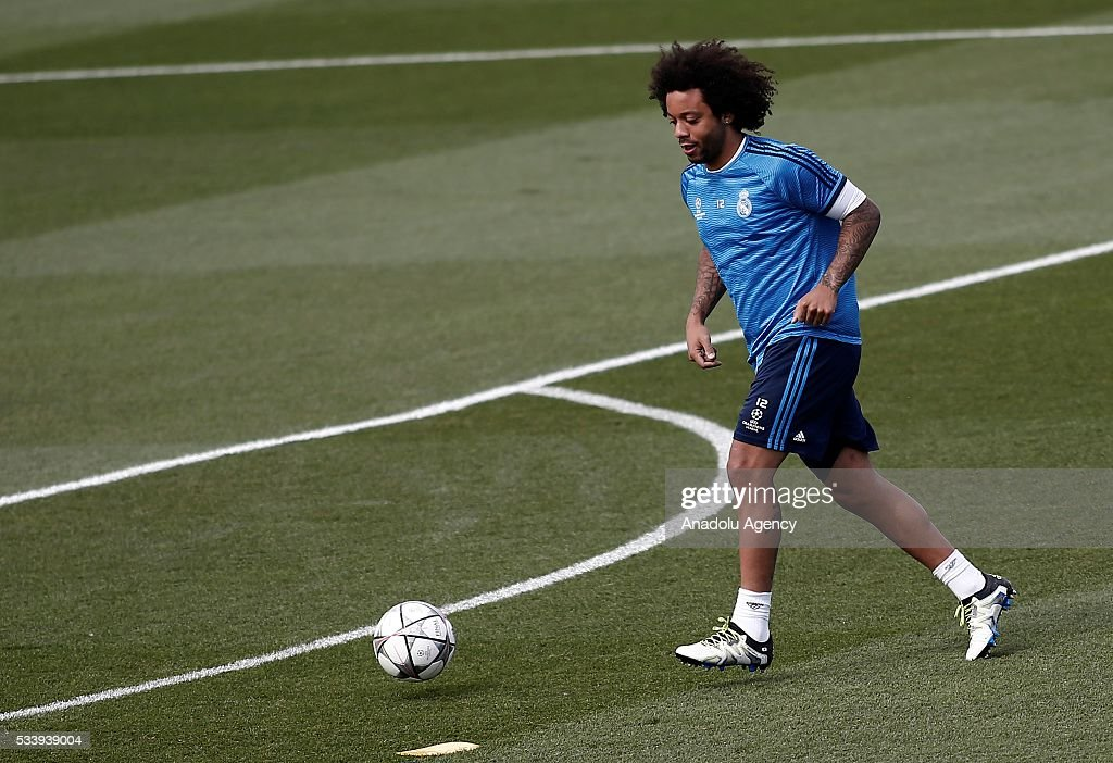 Marcelo Vieira of Real Madrid performs during their team's training session at the Valdebebas's sports complex in Madrid, Spain on May 24, 2016. Real Madrid will face Atletico Madrid in the 2016 UEFA Champions League final at Guiseppe Meazza stadium in Milan, Italy on May 28, 2016.