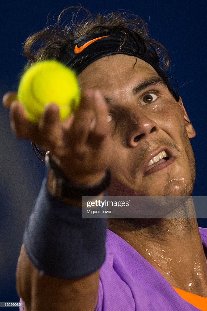 Rafael Nadal of Spain serves during the final tennis match against David Ferrer of Spain as part of the Mexican Tennis Open Acapulco 2013 at Pacific resort on March 02, 2013 in Acapulco, Mexico.