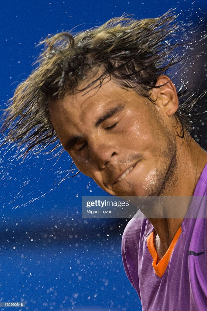 Rafael Nadal of Spain shakes his head during the final tennis match against David Ferrer of Spain as part of the Mexican Tennis Open Acapulco 2013 at Pacific resort on March 02, 2013 in Acapulco, Mexico.