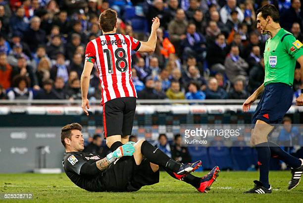 the goalkeaper Iago Herrerin is injured in the match between RCD Espanyol and Athletic Club for the second leg of the 1/2 final of the spanish Cup...