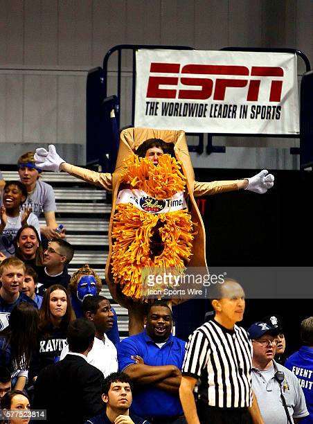 March 05 2009 A Xavier fan cheers his team on dressed as a cheese coney
