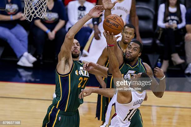 Utah Jazz center Rudy Gobert blocks the shot of New Orleans Pelicans guard Eric Gordon during the NBA game between the Utah Jazz and the New Orleans...