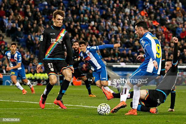 Burgui and Llorente during the match between RCD Espanyol and Rayo Vallecano corresponding to the week 29 of the spanish league played at the...