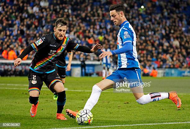 Burgui and Tito during the match between RCD Espanyol and Rayo Vallecano corresponding to the week 29 of the spanish league played at the CornellaEl...