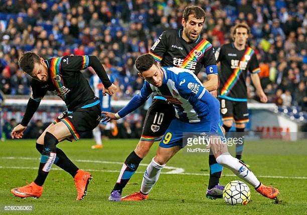 Roberto Trashorras and Burgui during the match between RCD Espanyol and Rayo Vallecano corresponding to the week 29 of the spanish league played at...