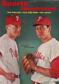 Baseball Portrait of Philadelphia Phillies pitchers Jim Bunning and Bo Belinsky during photo shoot at Life Studios New York NY 2/3/1965 CREDIT Tony...