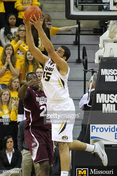 Missouri Tigers forward Keanau Post grabs a rebound during the NCAA men's basketball game between the Missouri Tigers and the Mississippi State...