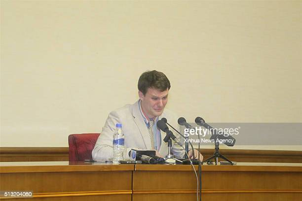 PYONGYANG March 1 2016 Otto Frederick Warmbier a 21yearold undergraduate student of commerce from Virginia University of the US speaks during a news...