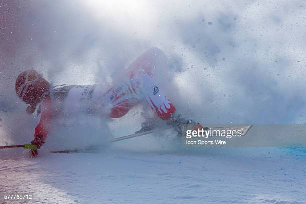 Elizabeth Goergl crashes out of the race on the Kandahar course during the downhill race at the Audi FIS Alpine Skiing World Cup Finals the finale to...