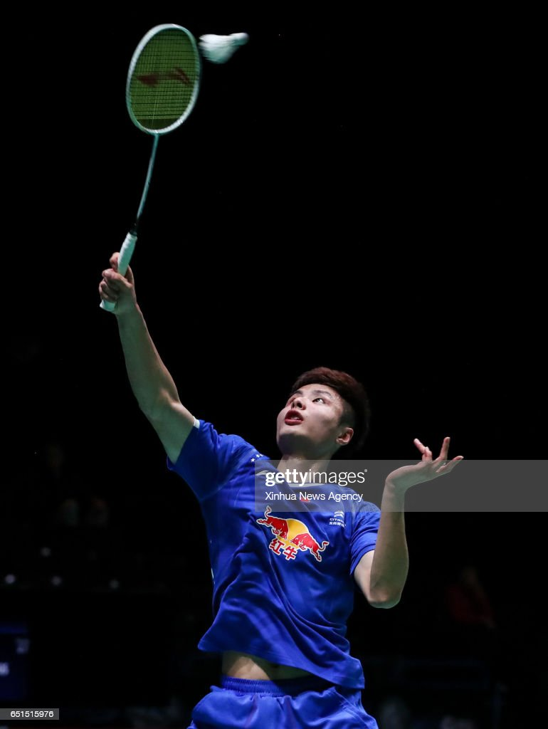 BIRMINGHAM March 10 2017 China s Shi Yuqi returns the