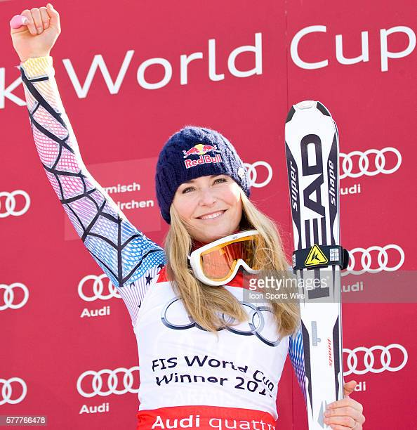 Lindsey Vonn winner of the Super G race during the medal award ceremony at the Audi FIS Alpine Skiing World Cup Finals the finale to the 20092010...