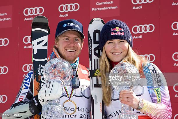 Ted Ligety and Lindsey Vonn with their crystal globes during the medal award ceremony at the Audi FIS Alpine Skiing World Cup Finals the finale to...