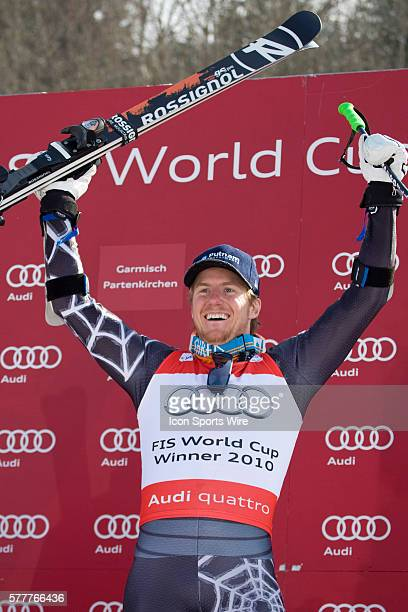 Ted Ligety USA winner of the overall title for the gint slalom during the medal award ceremony at the Audi FIS Alpine Skiing World Cup Finals the...