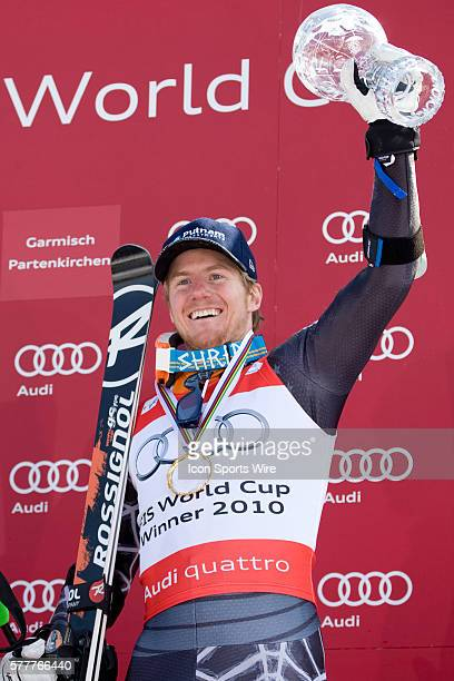 Ted Ligety with the crystal globe for the overall giant slalom title during the medal award ceremony at the Audi FIS Alpine Skiing World Cup Finals...