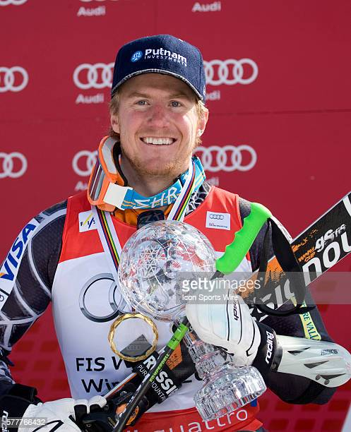 Ted Ligety with the crystal globe for winning the overall giant slalom title during the medal award ceremony at the Audi FIS Alpine Skiing World Cup...