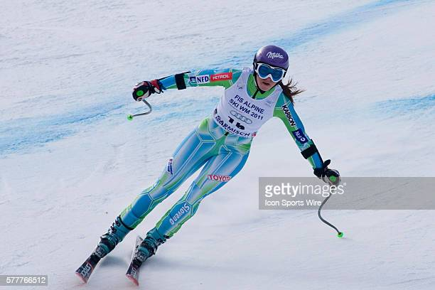 Tina Maze in action during the womens Super G race at the Audi FIS Alpine Skiing World Cup Finals the finale to the 20092010 season