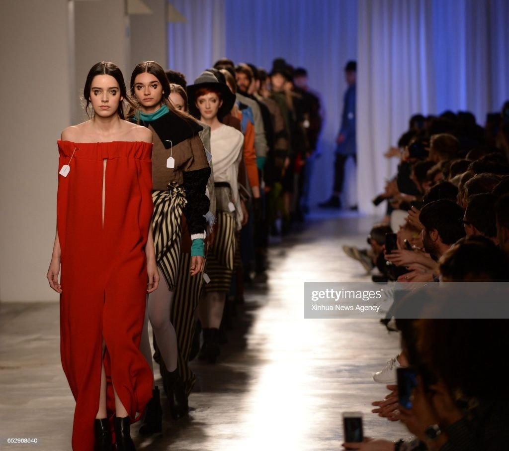 LISBON, March 12, 2017 -- Models present creations of designer Dino Alves at the Lisbon Fashion Week Fall/Winter 2017/18 in Lisbon, capital of Portugal, on March 12, 2017.