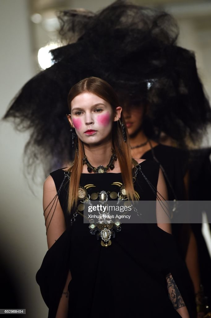 LISBON, March 12, 2017 -- Models present creations of designer Valentim Quaresma at the Lisbon Fashion Week Fall/Winter 2017/18 in Lisbon, capital of Portugal, on March 12, 2017.