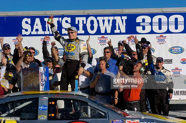 Mark Martin Ford Taurus driver celebrates in Victory Lane after winning the 9th Annual Sams Town 300 NASCAR Busch Grand National Series race at Las...