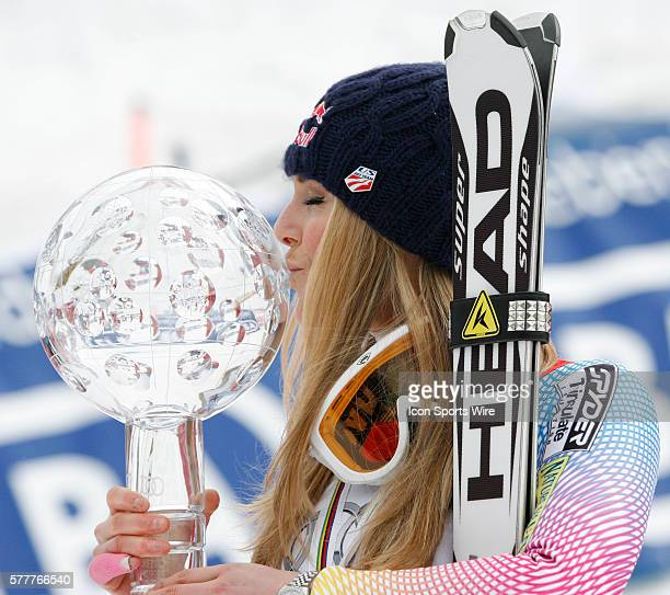 Lindsey Vonn kisses the crystal globe after winning the overall title at the Audi FIS Alpine Skiing World Cup Finals the finale to the 20092010 season