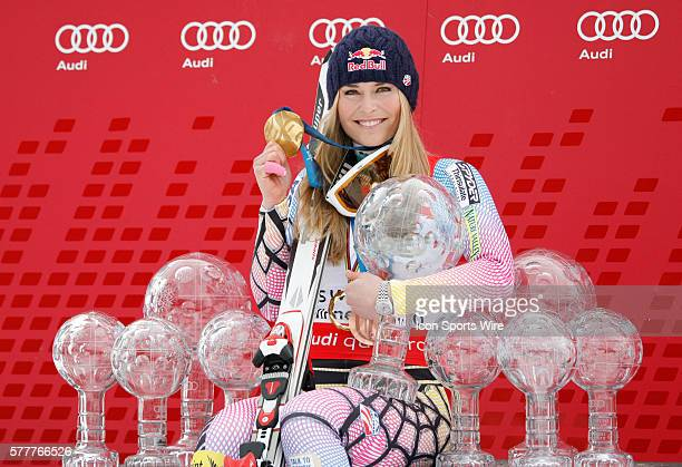 Lindsey Vonn with a collection of trophys and an olympic gold medal that she has won in recent seasons At the Audi FIS Alpine Skiing World Cup Finals...