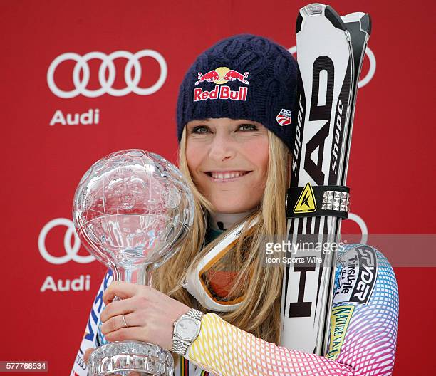 Lindsey Vonn with the crystal globe after winning the overall combined title at the Audi FIS Alpine Skiing World Cup Finals the finale to the...